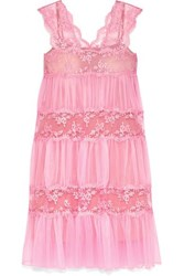 Christopher Kane Gathered Lace Paneled Tulle Midi Dress Pink