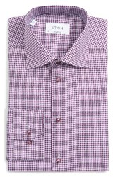 Eton Men's Big And Tall Contemporary Fit Check Dress Shirt Purple