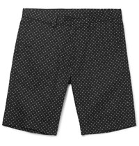 Dolce And Gabbana Slim Fit Polka Dot Stretch Cotton Twill Shorts Black