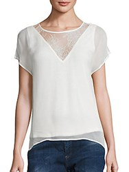 Lace Inset Tee Off White