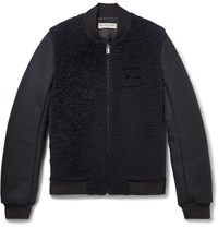 Balenciaga Shearling Panelled Wool Blend Bomber Jacket Blue