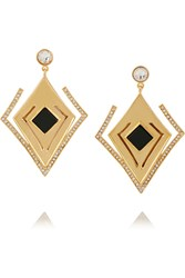 Kilian Lights And Reflections Gold Plated Swarovski Crystal And Onyx Earrings