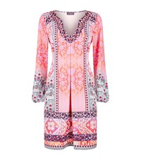 Hale Bob Paisley Embellished Neck Shift Dress Pink