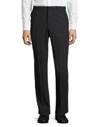 Dkny Wool Blend Straight Leg Trousers Charcoal