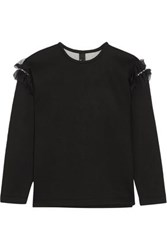 Mother Of Pearl Helma Embellished Tulle Trimmed Cotton And Modal Blend Neoprene Sweatshirt Black