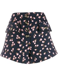 Self Portrait Floral Print Shorts Black