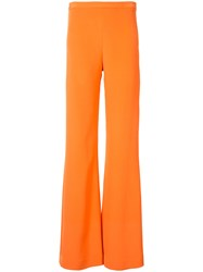 Christian Siriano Palazzo Pants Women Silk Crepe 10 Yellow Orange