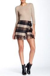 Romeo And Juliet Couture Fringe Plaid Mini Skirt Beige