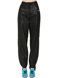 Off White Tied Ankles Coated Wide Leg Jeans Black