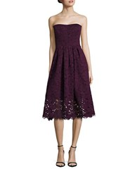 Vera Wang Strapless Lace Dress Deep Purple