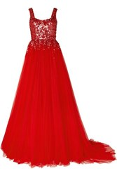 Jenny Packham Adara Embellished Tulle Gown Red