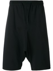 Y 3 Drop Crotch Track Shorts Cotton Polyamide Black