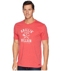 Life Is Good Grillin' Like A Villain Crusher T Shirt Heather Americana Red T Shirt