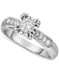 Macy's Diamond Vintage Inspired Milgrain Engagement Ring 5 8 Ct. T.W. In 14K White Gold