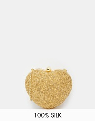 Moyna Heart Clutch Bag In Gold