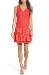 Eliza J Ruffle Hem Sheath Dress Coral
