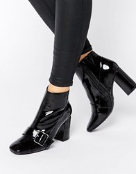 Office Archie Buckle Strap Heeled Ankle Boots Black Patent Pu