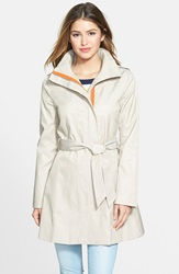 Kensie Contrast Trim Belted Trench Coat Khaki