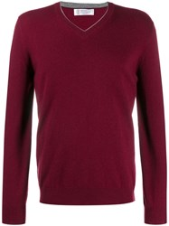 Brunello Cucinelli Long Sleeve Fitted Sweater Red