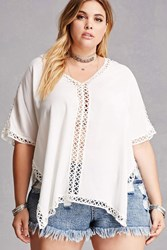 Forever 21 Plus Size Crochet Poncho Top White