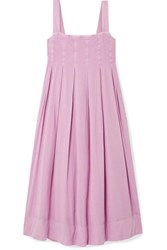 Hatch The Alice Pleated Shirred Cotton Voile Midi Dress Lilac