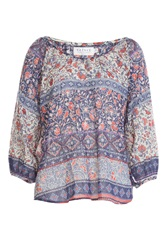 Velvet Mixed Print Cotton Tunic Multicolor