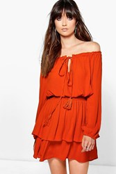 Boohoo Off The Shoulder Tassel Frill Hem Dress Burnt Orange