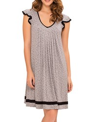 Ellen Tracy Plus Yours To Love Short Sleeve Chemise Grey Heather Dot