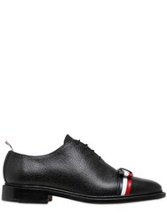 Thom Browne 20Mm Striped Bow Pebbled Leather Shoes