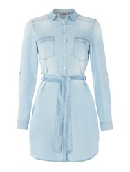 Salsa Denim Shirt Dress Denim Light Wash
