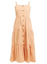 Solid And Striped Tiered Cotton Dress Tan
