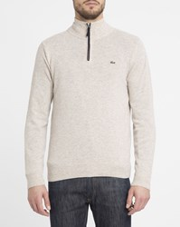 Lacoste Beige New Wool Zip Neck Sweater With Navy Trim Blue