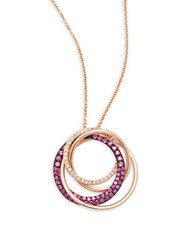 Bh Multi Color Corp. Ruby Diamond And 14K Rose Gold Pendant Necklace