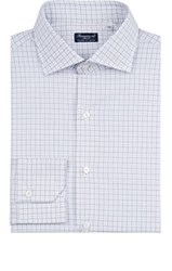 Finamore Men's Checked Cotton Dress Shirt Grey