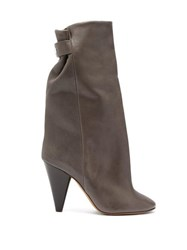 Isabel Marant Lakfee Slouched Leather Boots Grey