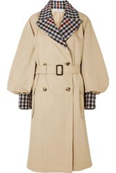 J.W.Anderson Jw Anderson Belted Checked Wool Blend And Cotton Gabardine Trench Coat Beige