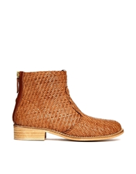 Miista Liz Leather Weave Detail Flat Boots Tanbrown