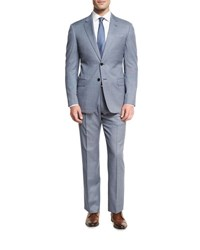 Armani Collezioni Neat Wool Two Piece Suit Blue White
