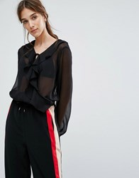 Neon Rose Wrap Front Body In Chiffon With Ruffle And Tie Cuffs Black