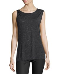 Halston Heritage Sleeveless Draped Back Top Metallic Charcoal