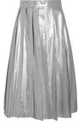 A.W.A.K.E. Pleated Lame Midi Skirt Silver