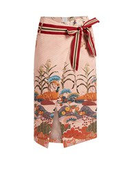 Stella Jean Numerosa Japanese Print Cotton Pencil Skirt Pink Print