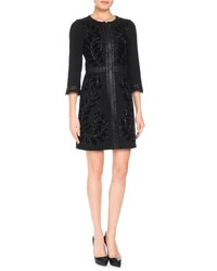 Andrew Gn 3 4 Sleeve Embroidered Wool Blend Coat Black