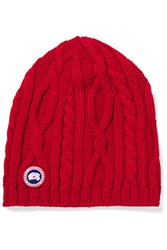 Canada Goose Cable Knit Merino Wool Beanie Claret