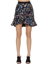 98e9f833c Self Portrait Floral Embellished Mini Skirt W Ruffles Multicolor