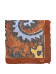 Dunhill Exploded Paisley Print Silk Blend Pocket Square Brown