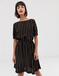 Selected Stripe Tie Waist Mini Dress Black