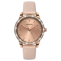 Sekonda Women's Crystal Leather Look Strap Watch Beige Gold
