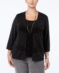 Alfred Dunner Plus Size Tis The Season Collection Metallic Layered Look Sweater Black