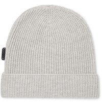 Tom Ford Ribbed Cashmere Beanie Gray